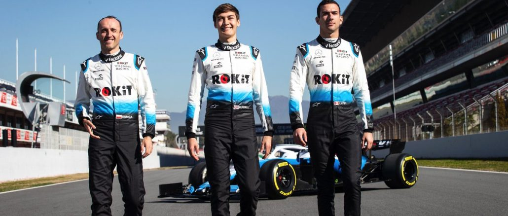 George Russell, Nicholas Latifi y Robert Kubica, pilotos de Williams 2019